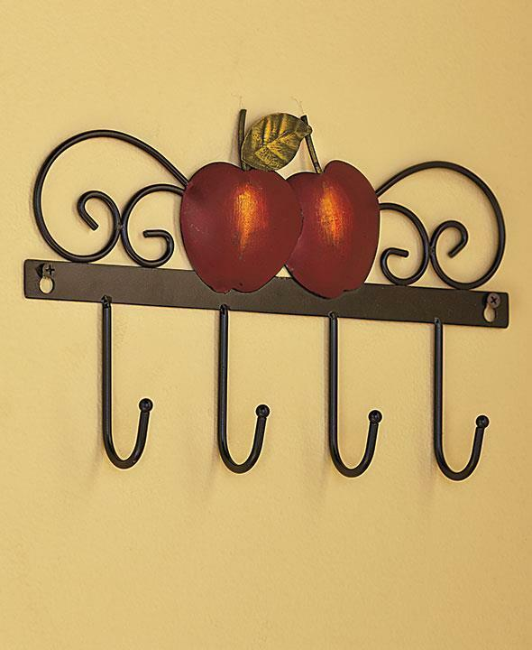 Country Kitchen Wall Decor: APPLE WALL HOOK TOWEL KEY RUSTIC ART COUNTRY KITCHEN HOME