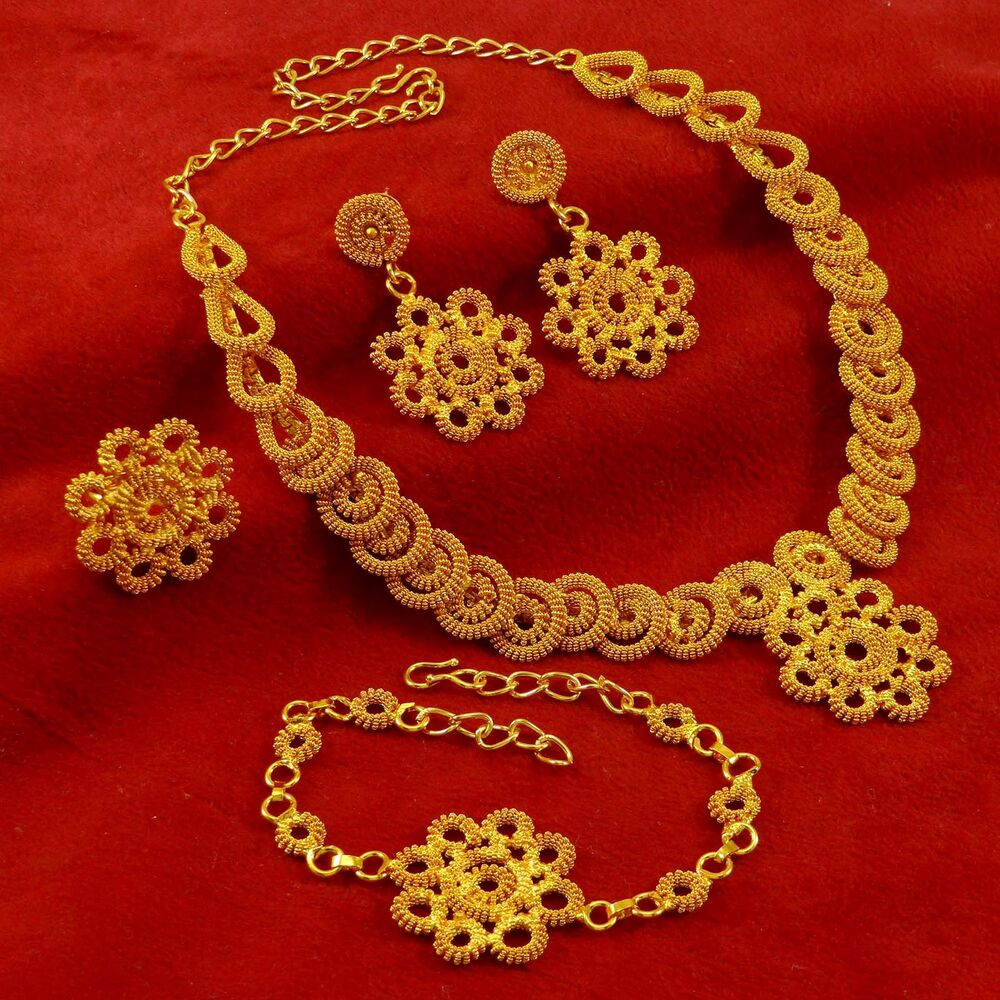 Indian Gold Plated Choker Necklace Traditional Bridal: Gold Plated Ethnic Women Wedding Necklace Earrings