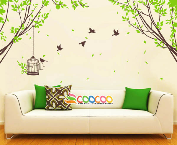 Spring Tree Wall Decor : Wall decor decal sticker large tree spring leaves