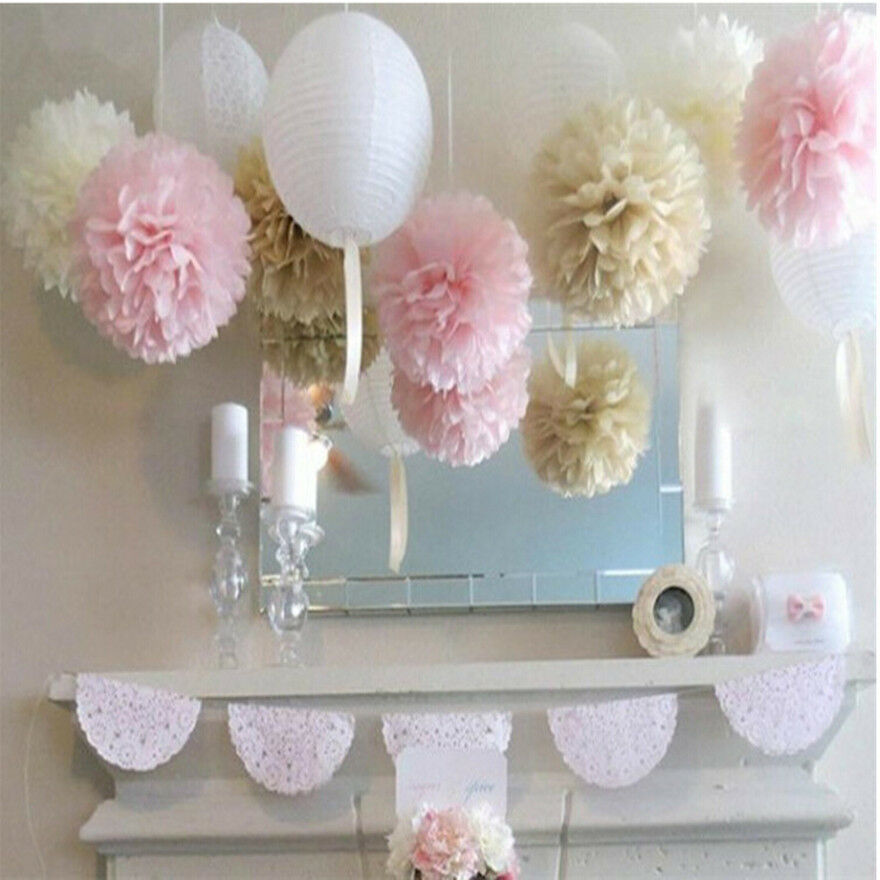 20pcs wedding s home flower balls tissue paper outdoor decor pom poms ebay