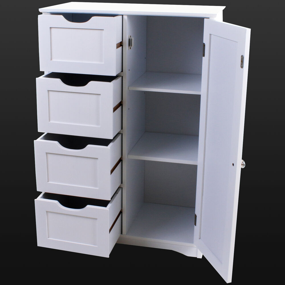 White Bathroom Furniture Storage Cupboard Cabinet Shelves: 4 Drawer Bathroom Cabinet Storage Unit Wooden Chest