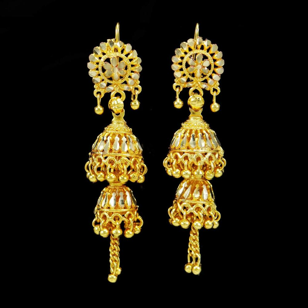 Gold Plated Necklace Earrings Set Indian Traditional: Traditional Ethnic Indian Gold Plated Jhumka Earrings