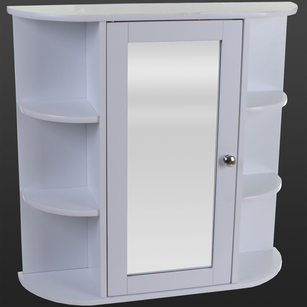 white wooden indoor wall mountable bathroom cabinet with shelves and