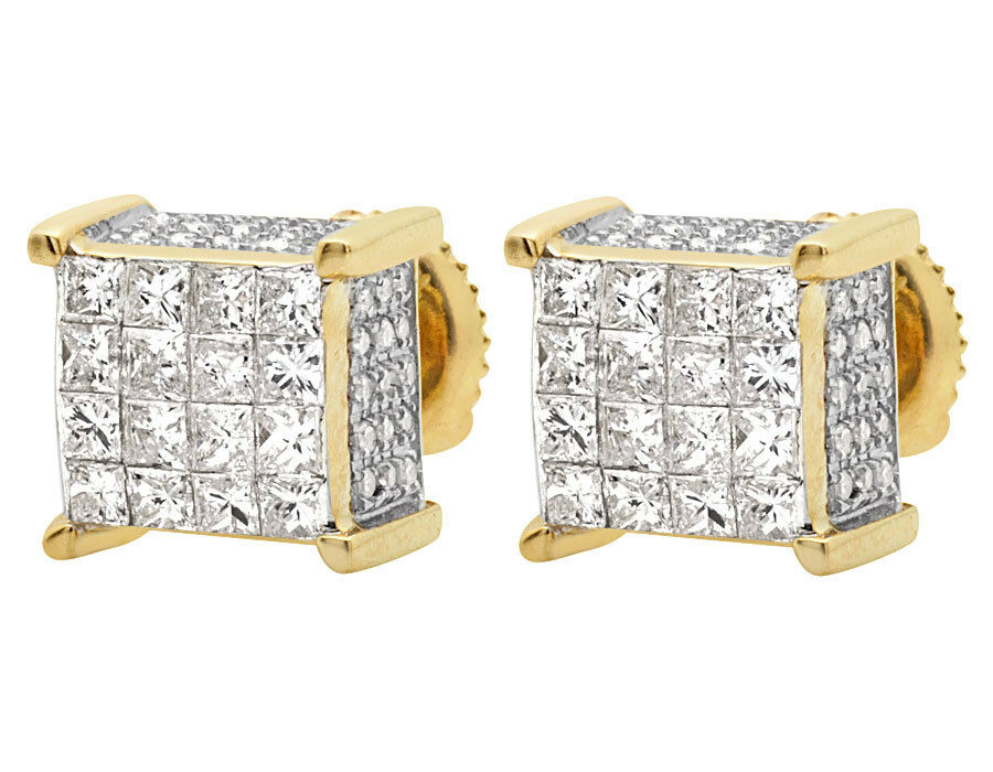 1 ct princess cut earrings 10k yellow gold princess cut cube genuine stud 7233