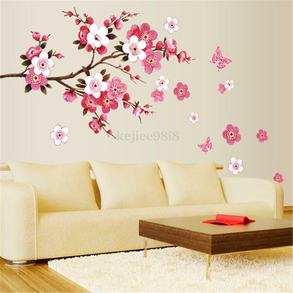 Large Cherry Blossom Flower Butterfly Tree Wall Stickers