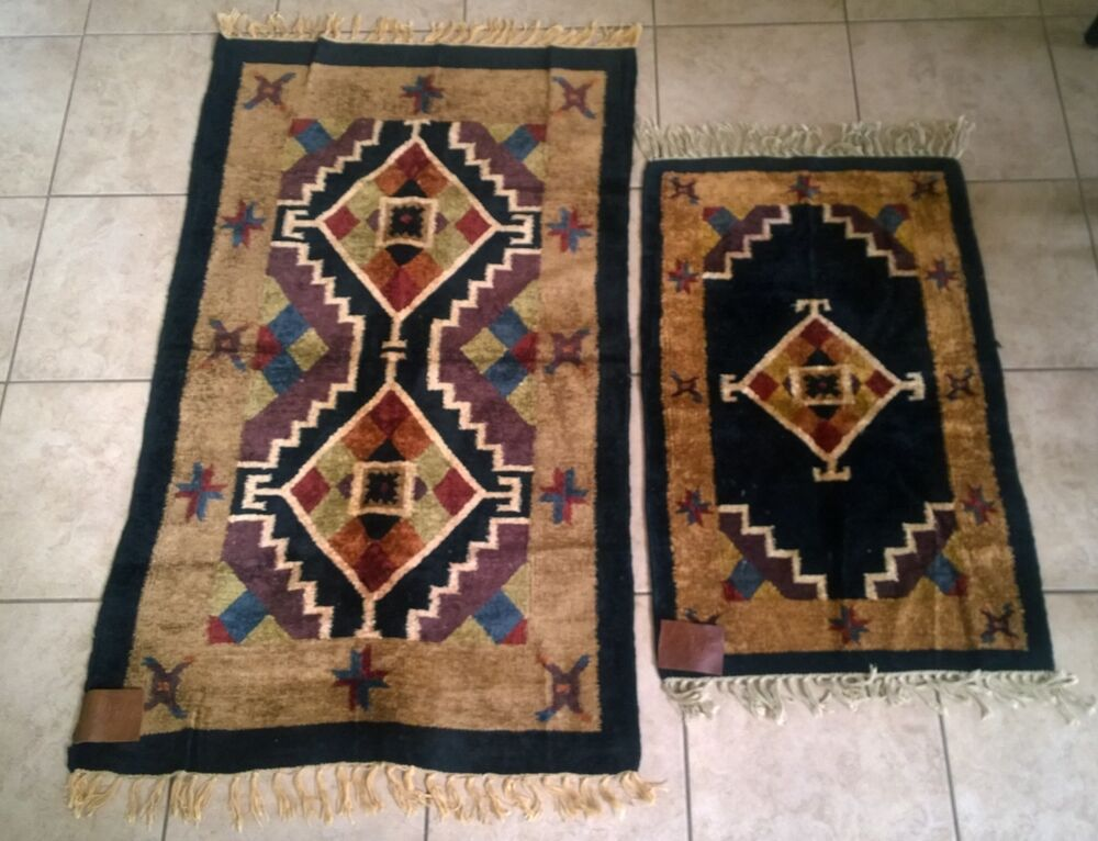 Vintage Perla Genuine Hand Woven Chenille Rugs Native