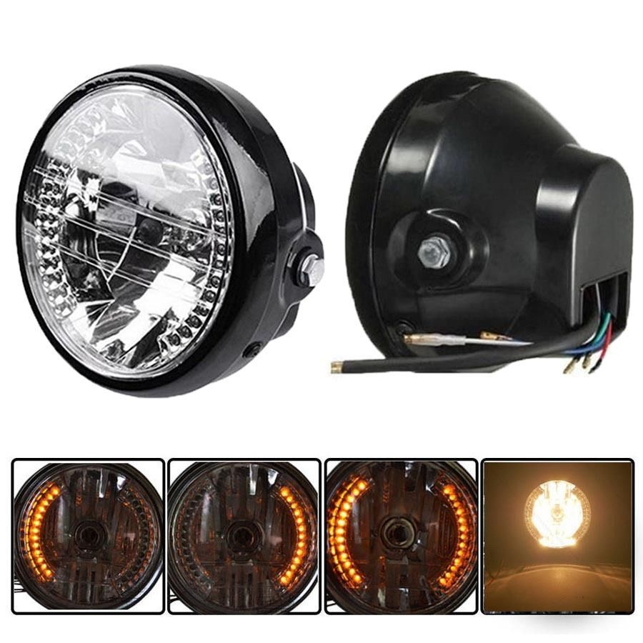 motorrad scheinwerfer mit led standlicht universal f r. Black Bedroom Furniture Sets. Home Design Ideas