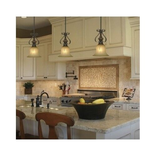 Glass Pendant Light Crackle Shade Fixture Bar Kitchen