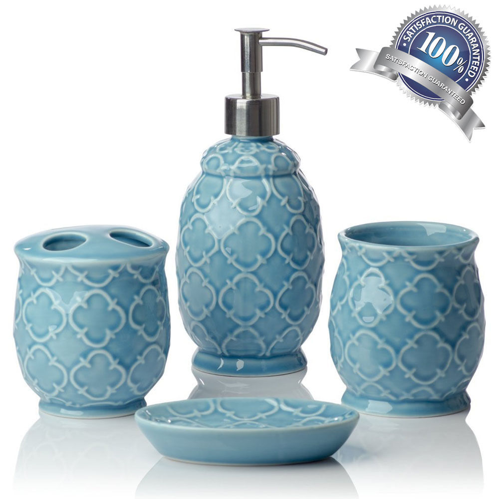 Turquoise blue accessory bathroom set soap home decor for Aqua bathroom accessories sets
