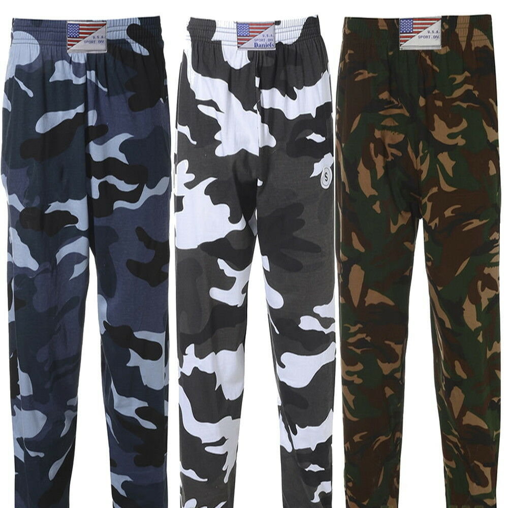 a3a51b65bc2 Details about Men s Camouflage Army Military Training Gym Tracksuit Elastic  Bottoms Trousers