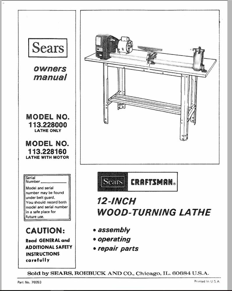 sears craftsman wood metal lathe owners manual 113 228000 Shopsmith Lathe Parts Craftsman Metal Lathe Mod 10.1
