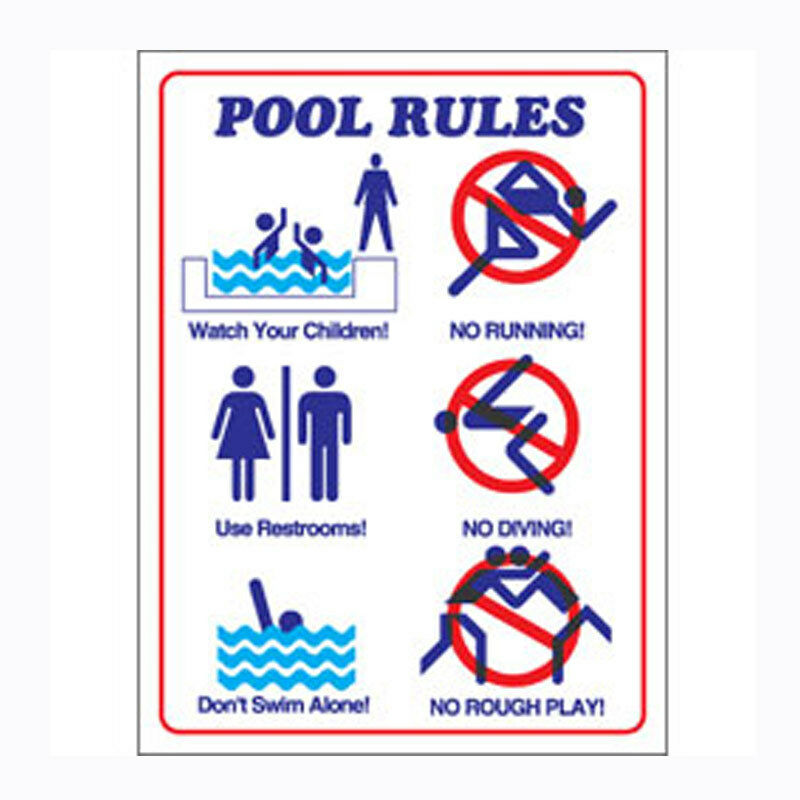 Commercial Plastic Safety Sign Swimming Pool Rules In Pictures Text 18 X24 Ebay