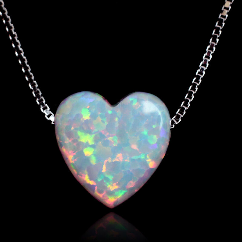 White fire opal heart pendant necklace genuine 925 sterling silver white fire opal heart pendant necklace genuine 925 sterling silver box chain new aloadofball Choice Image