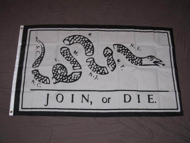 Join Or Die Snake Only JOIN OR DIE FLAG 3x5 A...
