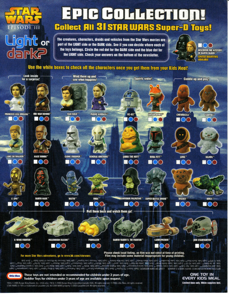2005 star wars rots burger king kids club happy meal toys figures