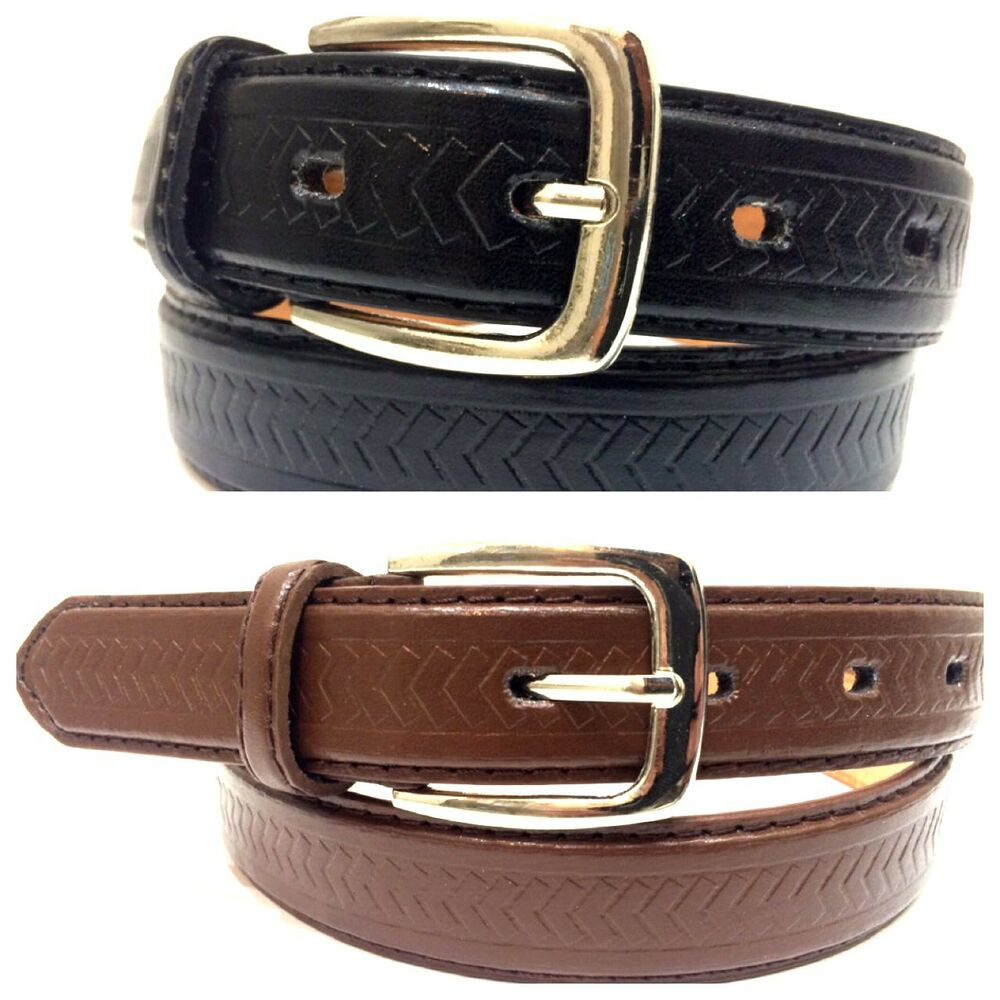 mens dress belts leather 1 quot inch silver buckle black brown
