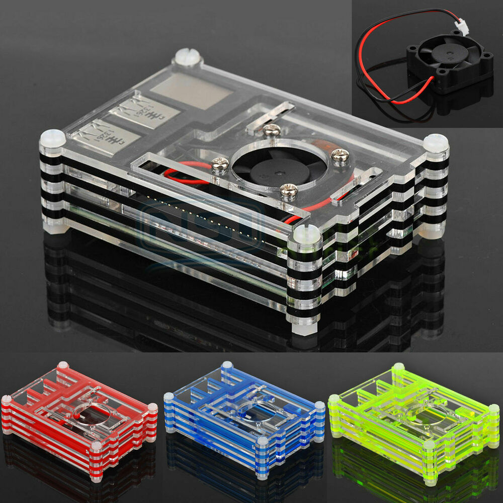Clear Acrylic Case Shell Enclosure Box Cooling Fan For