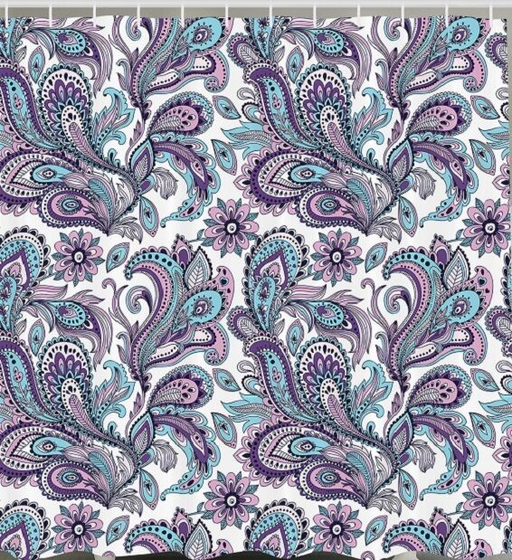paisley floral flower fabric shower curtain purple teal blue art bathroom decor