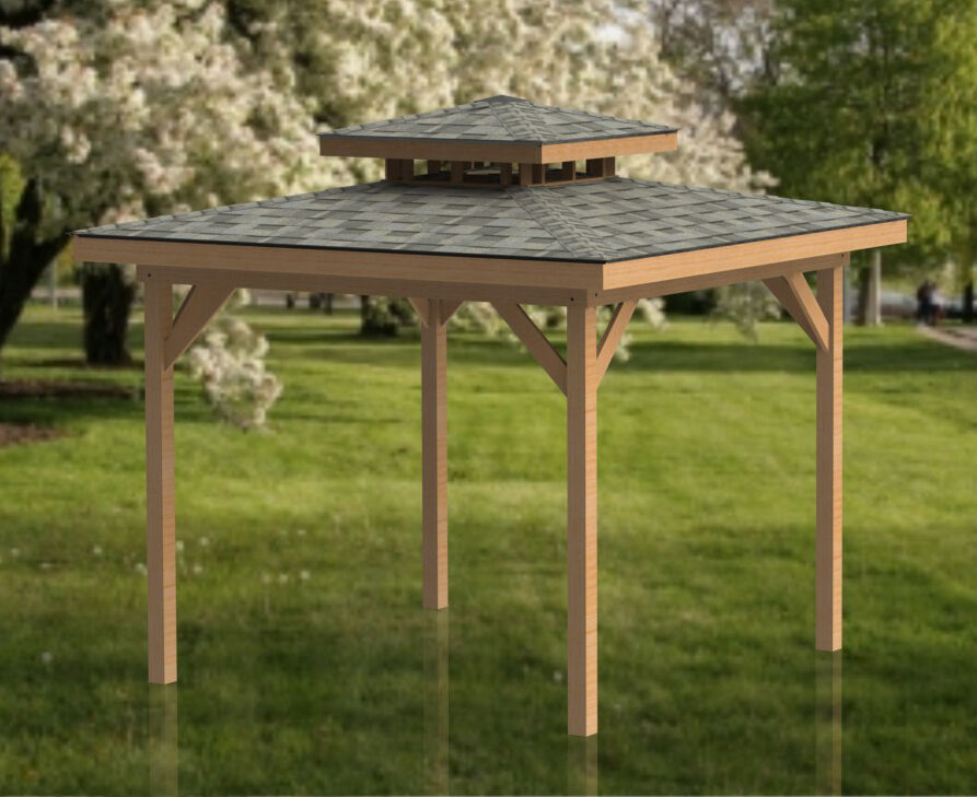 12 39 x 12 39 double hip roof gazebo building plans perfect for Hot tub gazebo plans