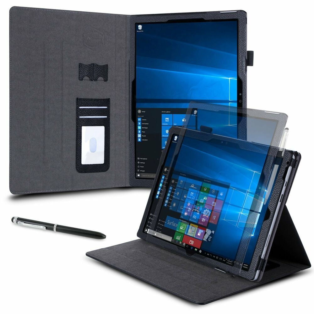 microsoft surface pro 4 pro 3 case leather folio stand soft nonscratch sleeve ebay. Black Bedroom Furniture Sets. Home Design Ideas