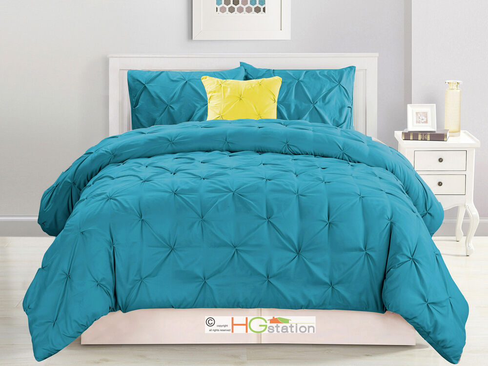 4 Pc Diamond Ruched Pinched Pleated Ruffled Comforter Set