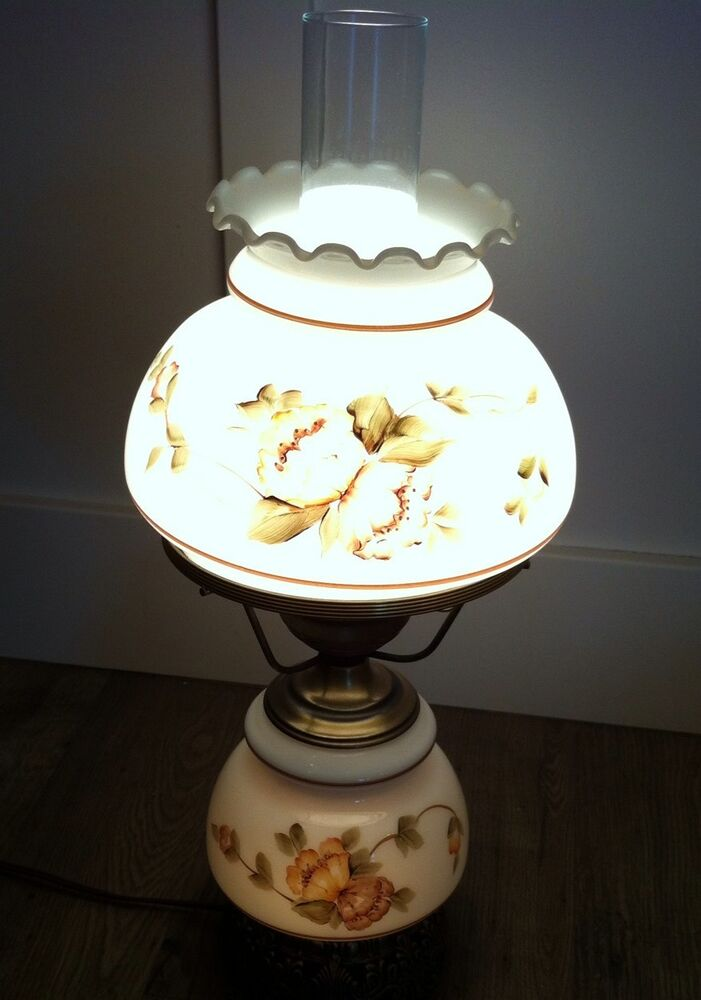 Vintage Quoizel Hurricane 3 Way Table Lamp Floral Hand