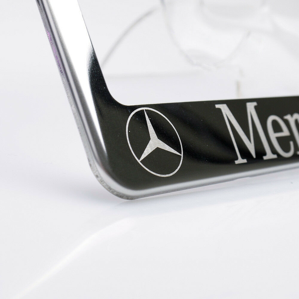 Fit mercedes benz stainless steel chrome license plate for Mercedes benz license plate logo