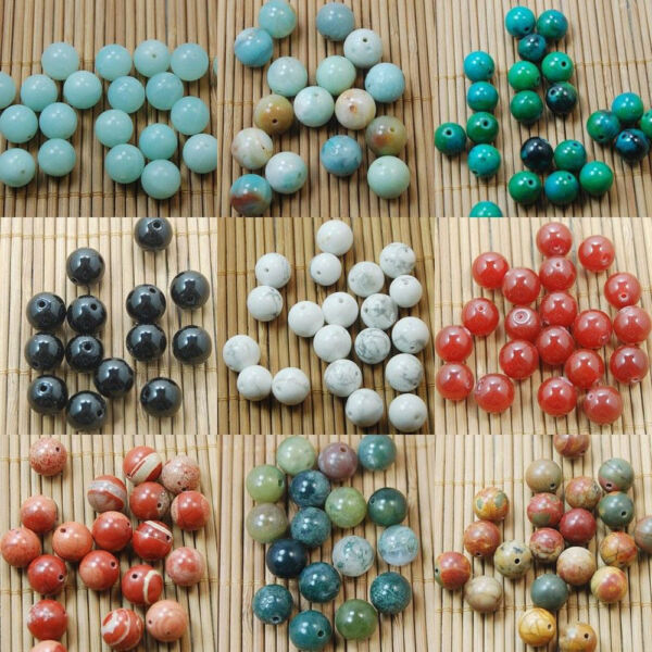 Wholesale 5/10/20/30/40Pcs Natural Gemstone Assorted Round Loose Spacer Beads