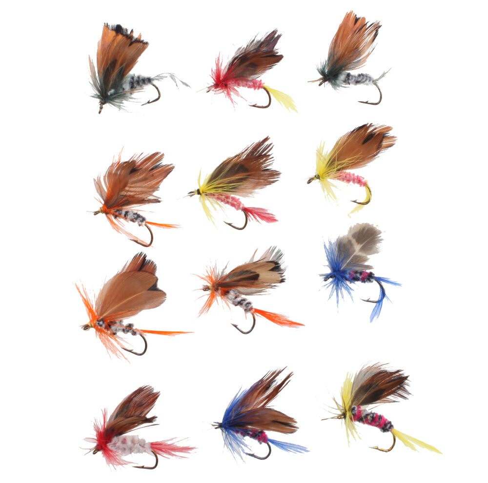 48pcs assorted trout flies fishing fly dry wet hook set for Fly fishing bait