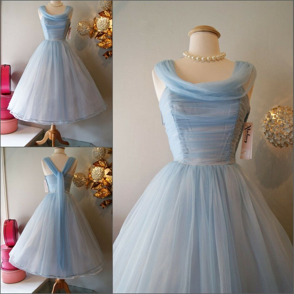 Cinderella blue tea length cocktail prom evening for Ebay wedding bridesmaid dresses
