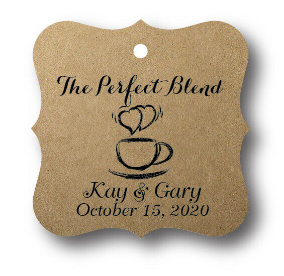 Wedding Favor Tags Ebay : 48 The Perfect Blend Personalized Wedding Favor Tag eBay
