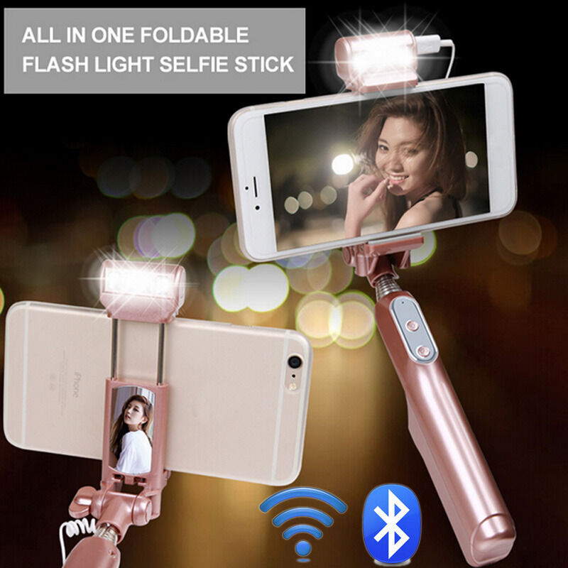 bluetooth extendable handheld selfie stick monopod flash led for iphone samsung ebay. Black Bedroom Furniture Sets. Home Design Ideas