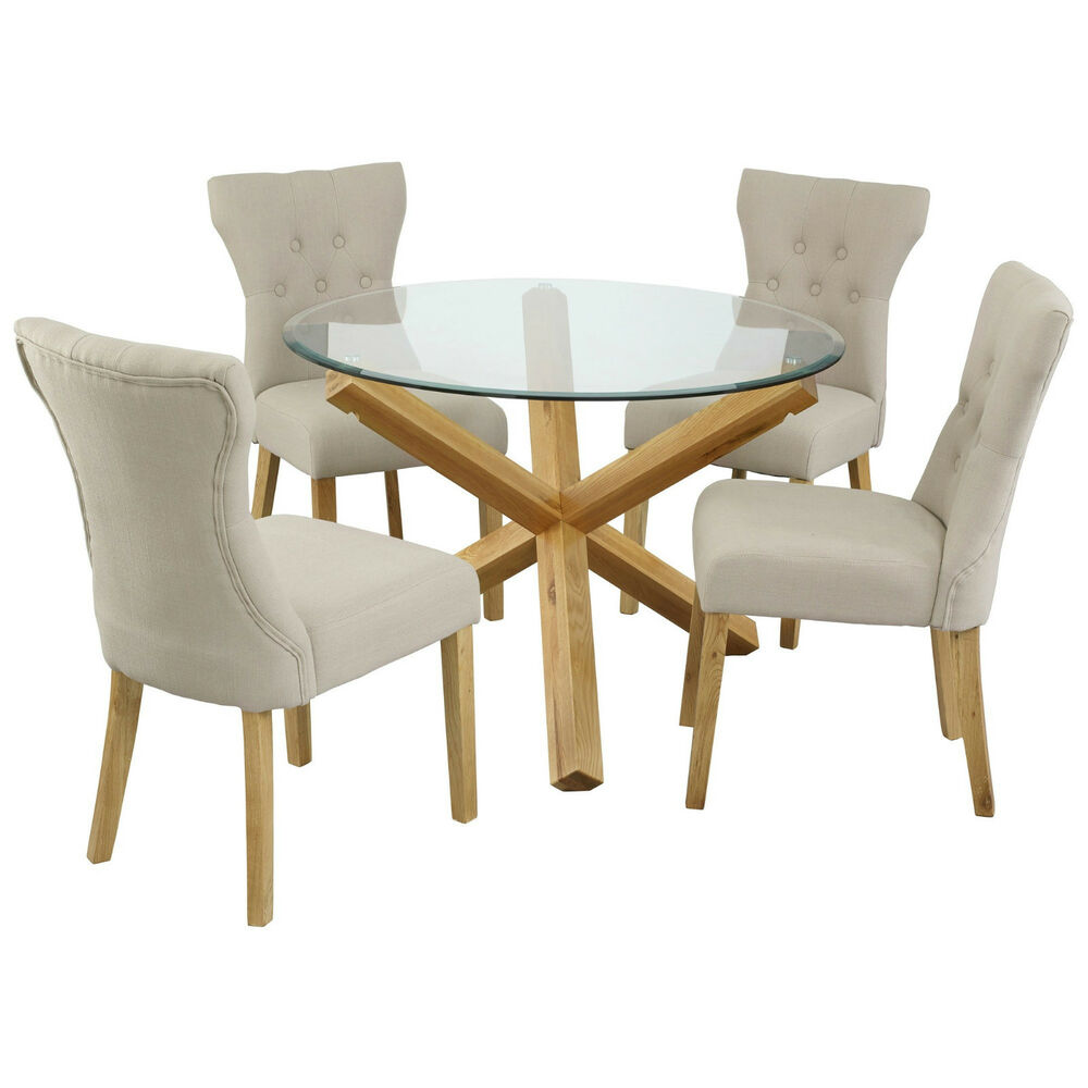Oporto saturn solid oak and glass dining table round 107cm or 120cm available ebay Round glass dining table