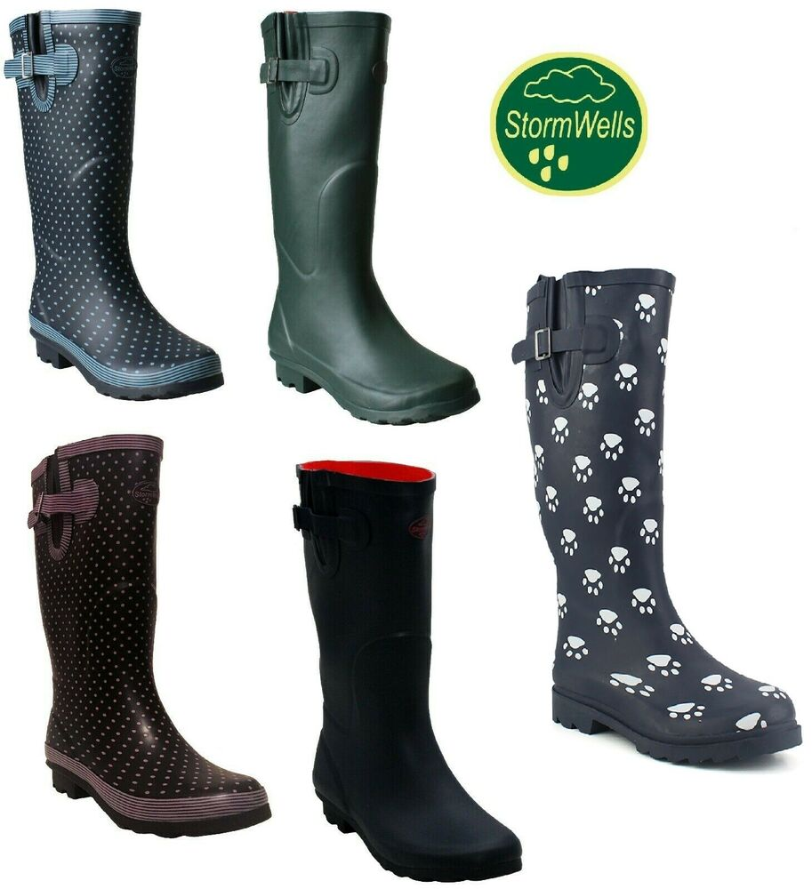 3601dad86ca Details about womens ladies extra wide calf polka dot wellies waterproof  wellington rain boots