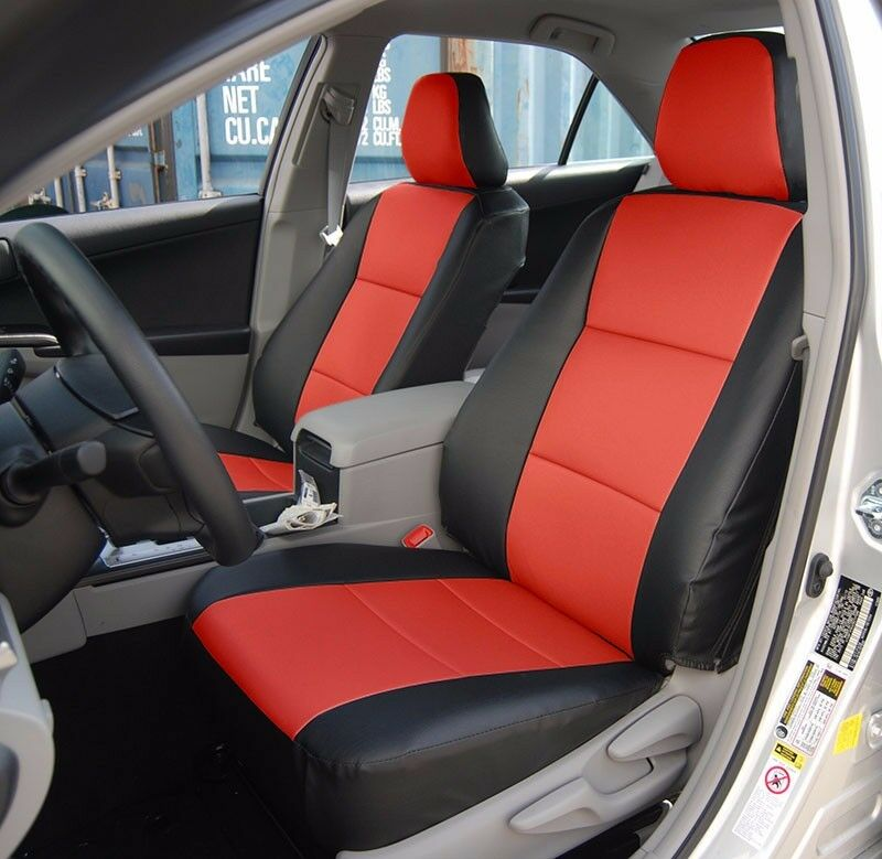 toyota camry 2012 2016 black red iggee s leather custom fit front seat cover ebay. Black Bedroom Furniture Sets. Home Design Ideas