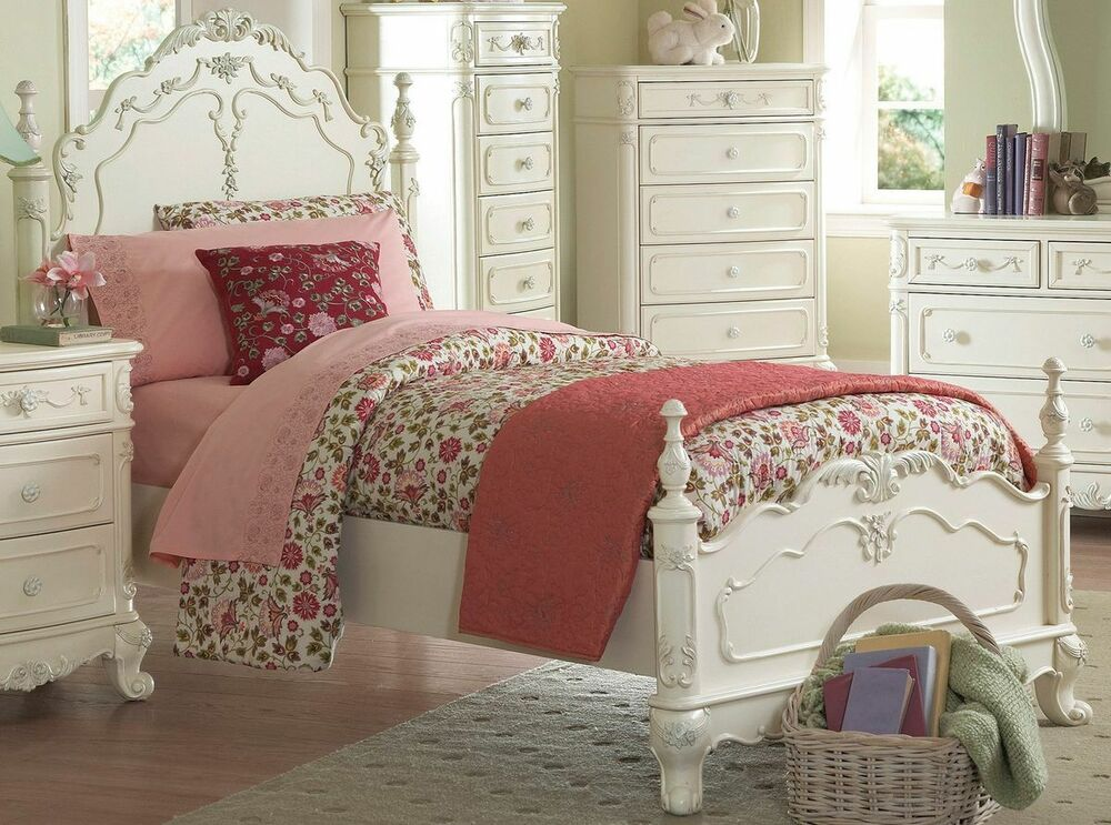 Dreamy antique white full youth girl 39 s bed bedroom for Girls white bedroom furniture