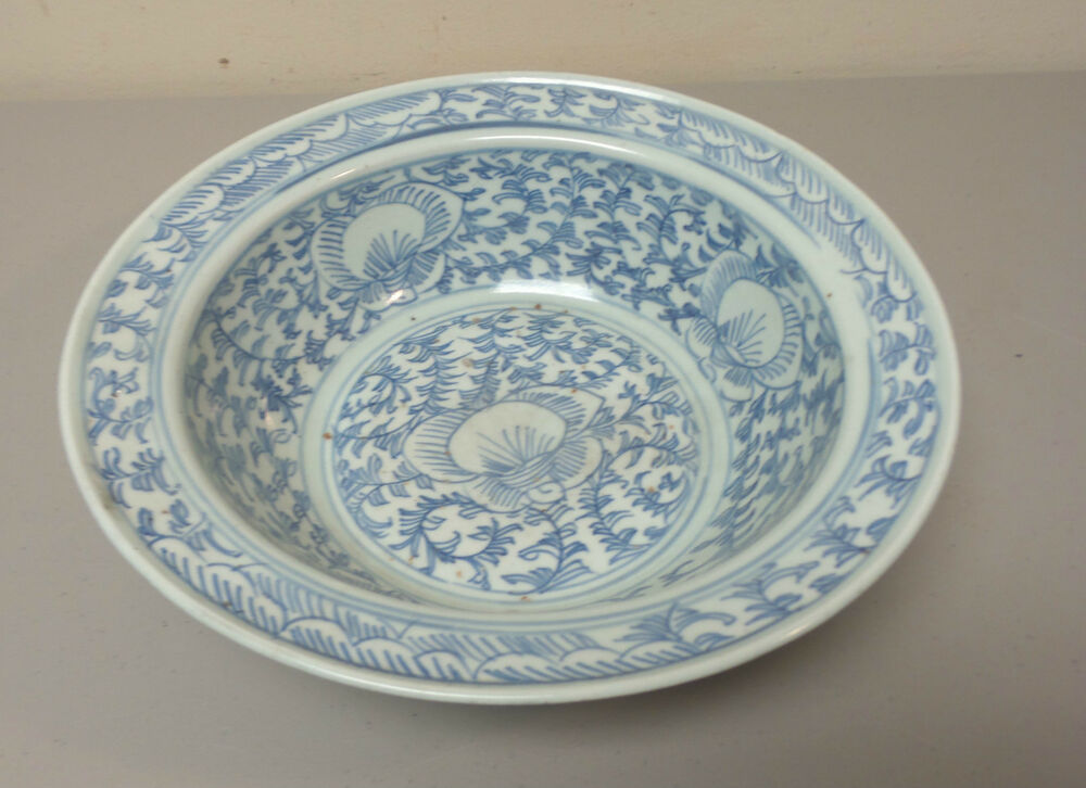 Antique Chinese Pottery Blue Amp White Centerpiece Bowl Qing Dynasty Ebay
