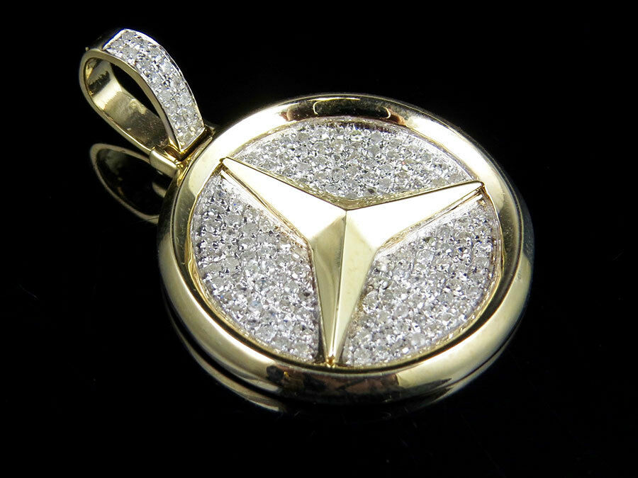 Men 39 s 10k yellow gold mercedes medallion genuine diamond for Mercedes benz charm