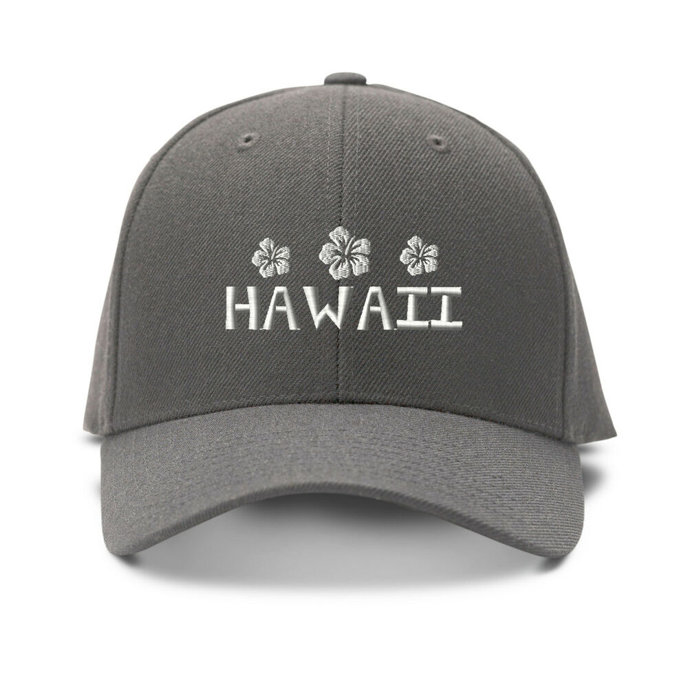 Hawaii White Hibiscus Embroidery Embroidered Adjustable Hat Baseball Cap | EBay