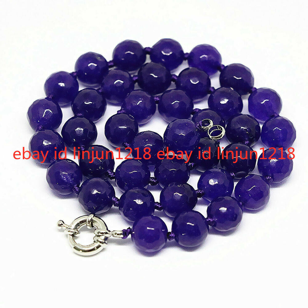 Beads Necklace Beads: Natural Purple Amethyst Faceted Round Beads Necklace 8mm