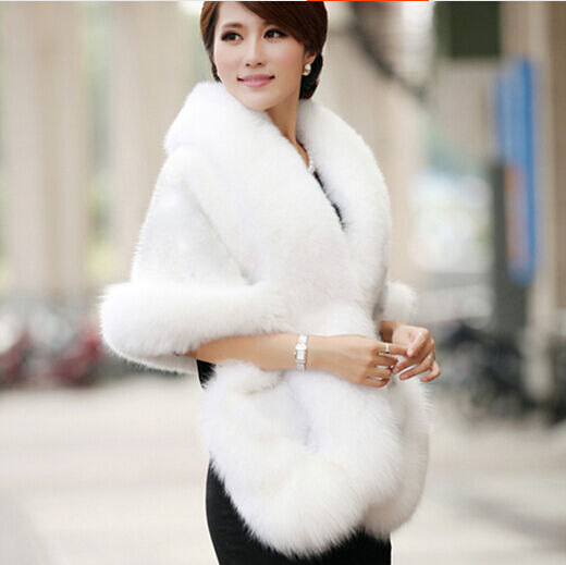 Women wedding party faux fox mink fur luxury cape shawl stole wrap shrug scarf ebay - Polsterstoffe fur stuhle ...