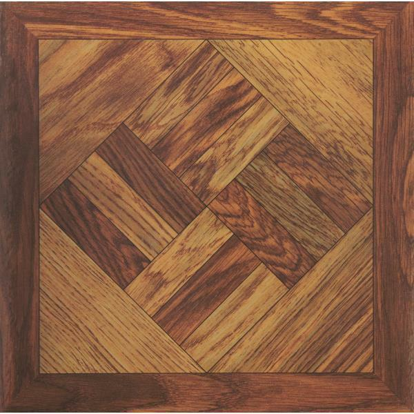 45 pack home impressions 12 x 12 wood parquet pattern for Vinyl floor tiles for sale