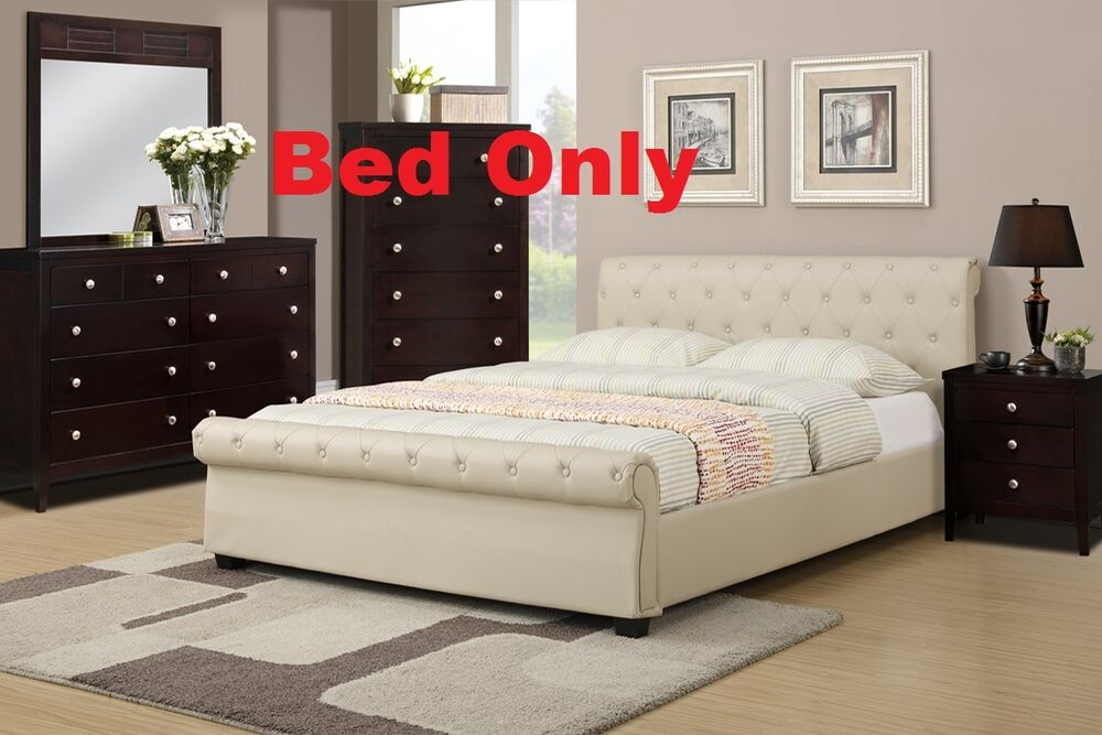 Modern 1 Piece Bedroom Queen Or Full Size Bed Hazelnut Faux Leather Furniture