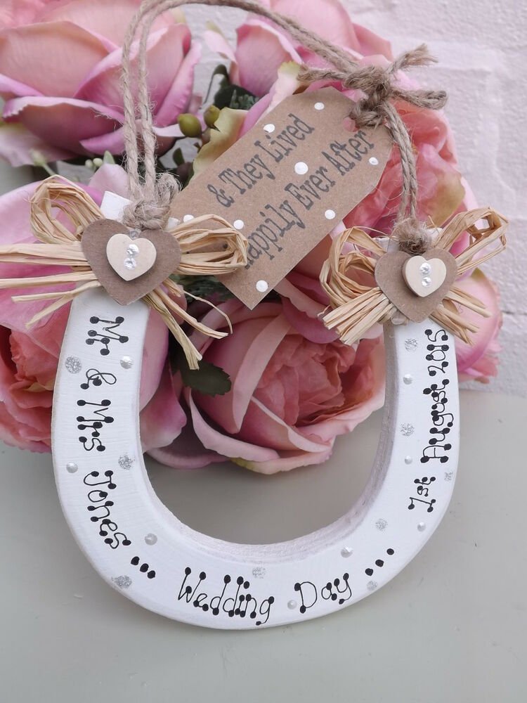 PERSONALISED WEDDING Plaque KEEPSAKE LUCKY HORSESHOE GIFT VINTAGE ...