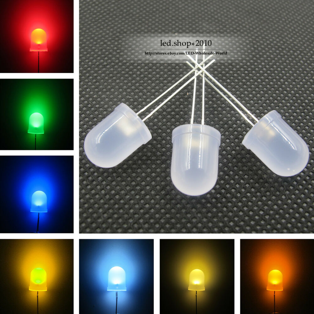 Super Bright 10mm Round Top Diffused 7 Colors Light