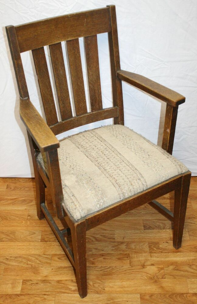 Antique Oak Arts And Crafts Mission Dining Armchair Nice
