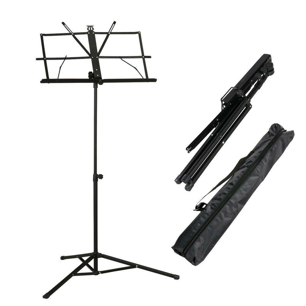 adjustable metal sheet music stand holder folding foldable with carry case bag ebay. Black Bedroom Furniture Sets. Home Design Ideas