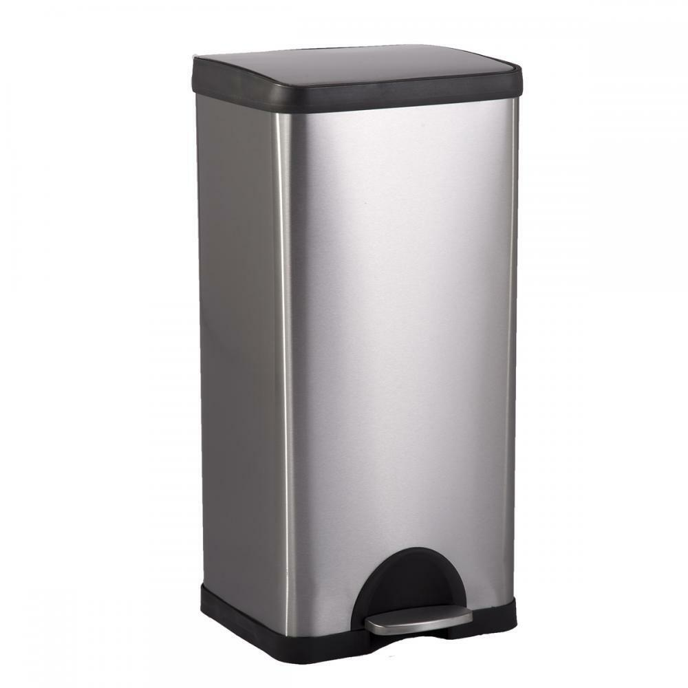 Stainless Steel Kitchen Garbage Can: BestOffice 10 Gallon/ 38L Step Stainless-Steel Trash Can