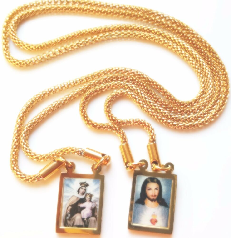 Gold Scapular Necklace: Scapular Medal Our Lady Mount Carmel Necklace Chain Jesus