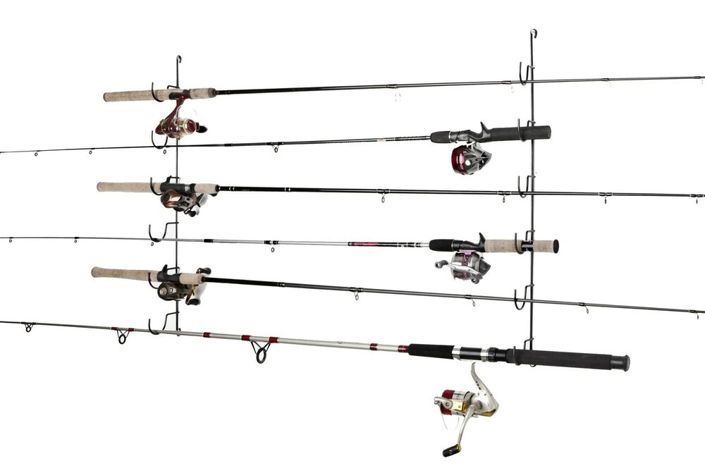 Fishing rod rack pole holder storage organize horizontal for Horizontal fishing rod rack
